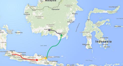 inilah penampakan rute rangkaian mudik lebaran 1435 saya kemarin :-)